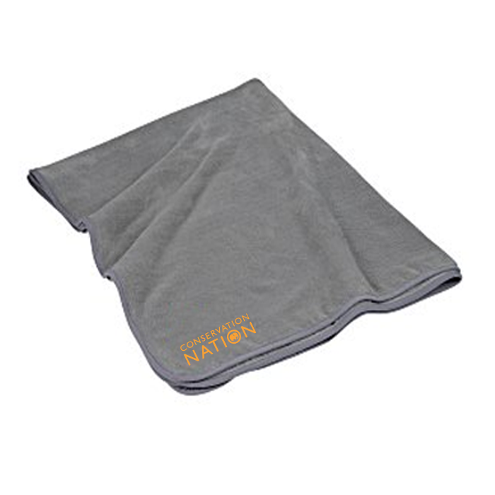 small blanket with Conservation Nation logo