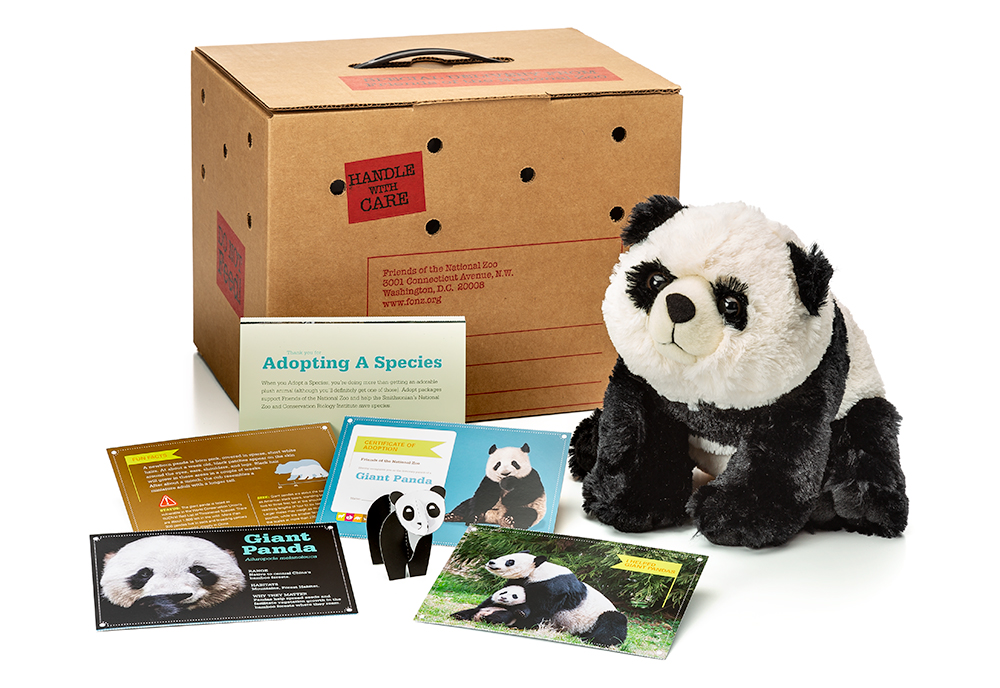 adopt a giant panda package featuring a plush, carrier box and photo-filled five card set