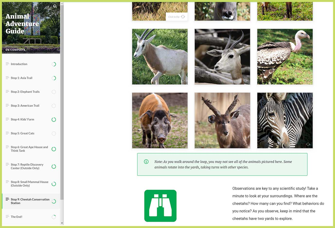 """A screen grab of the Zoo's Animal Adventure Guide. On the left-hand side is the title """"Animal Adventure Guide"""" and navigation to different animal exihibits, such as Asia Trail. On the right is a grid of animal photos, including vultures and dama gazelles."""