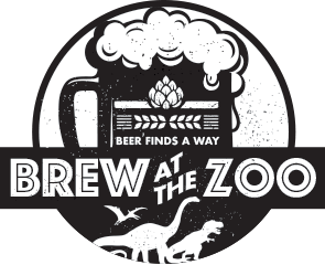 Brew at the Zoo log with beer mug, dinosaurs, and the words beer finds a way