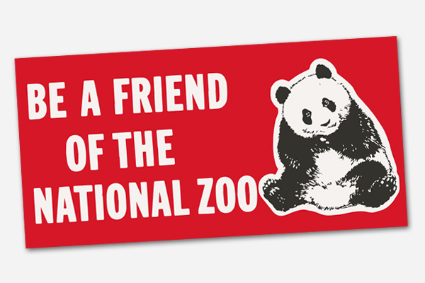 bumper sticker with giant panda and the words be a friend of the national zoo