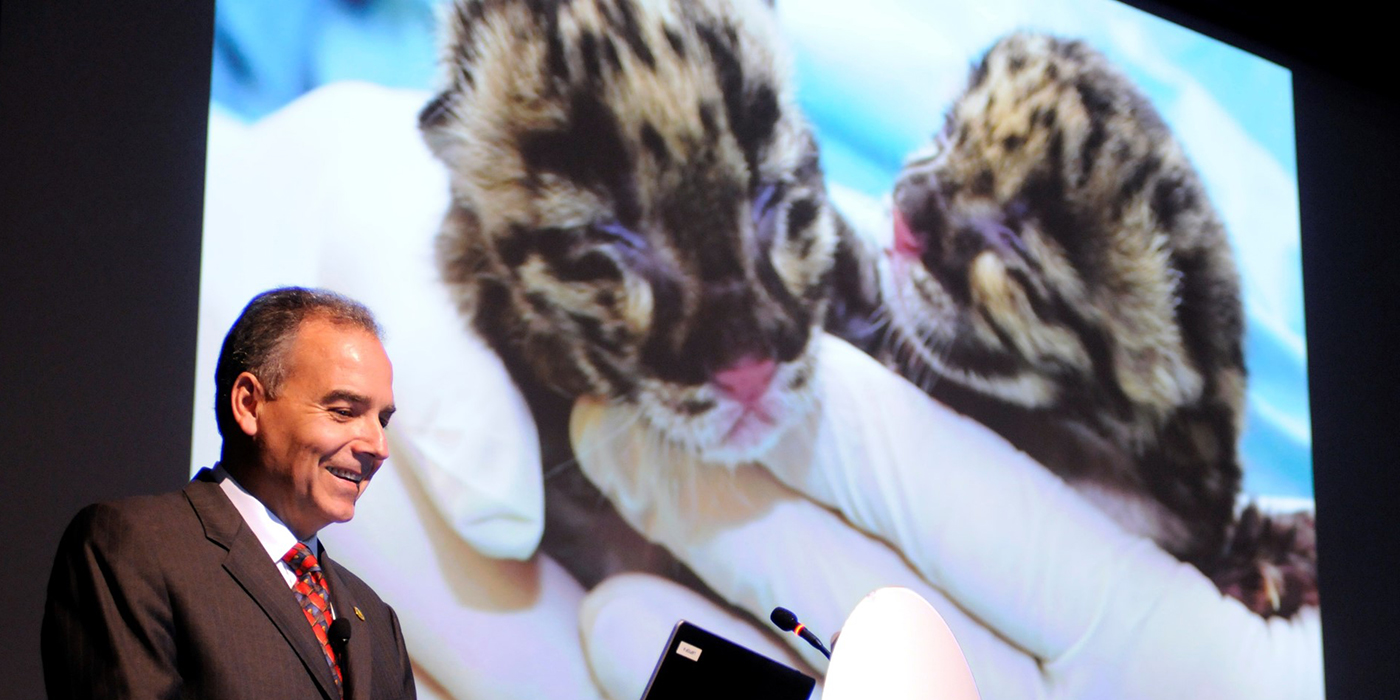 Dallmeier presenting slides of clouded leopard cubs