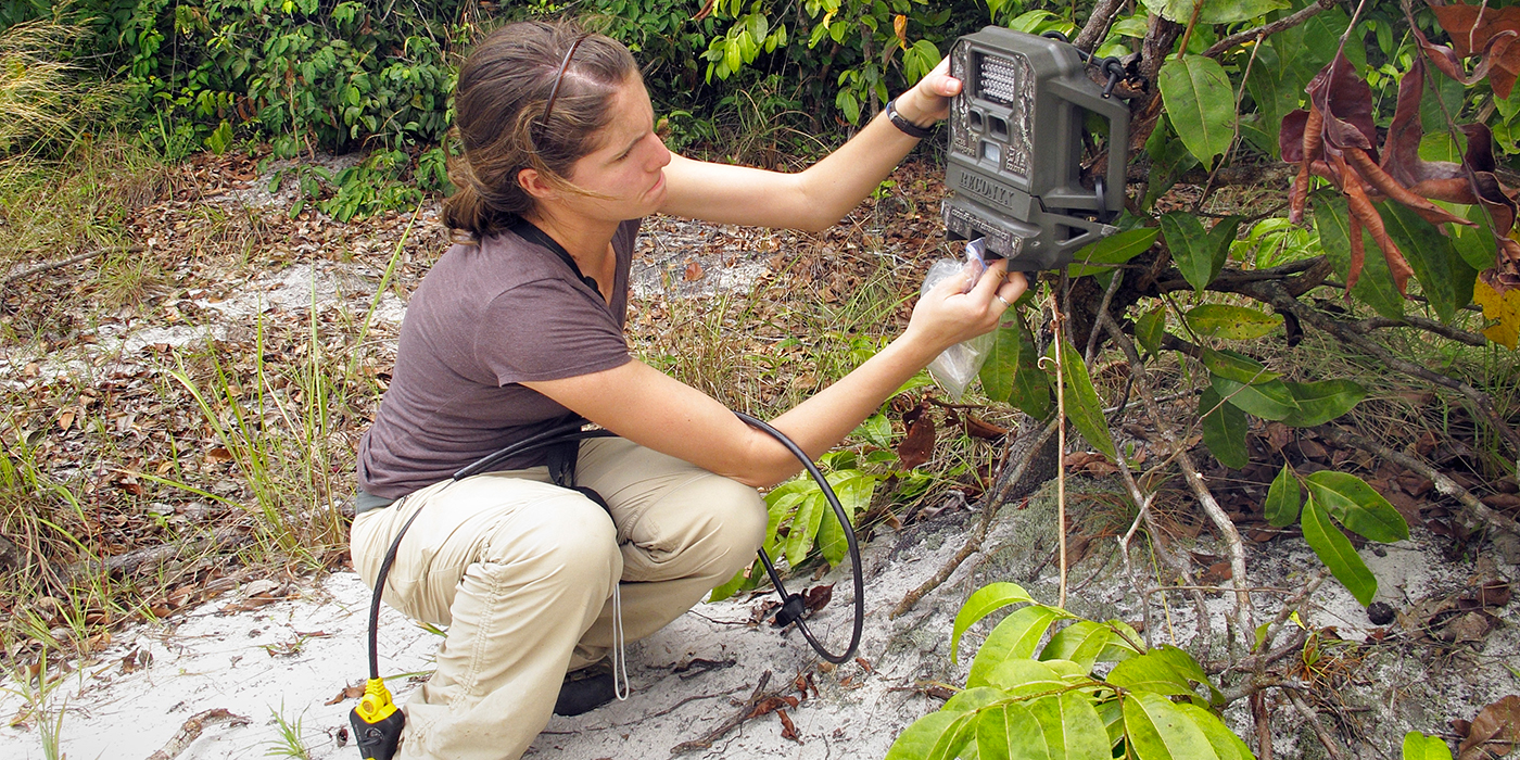 woman adjusting the settings on a camera trap