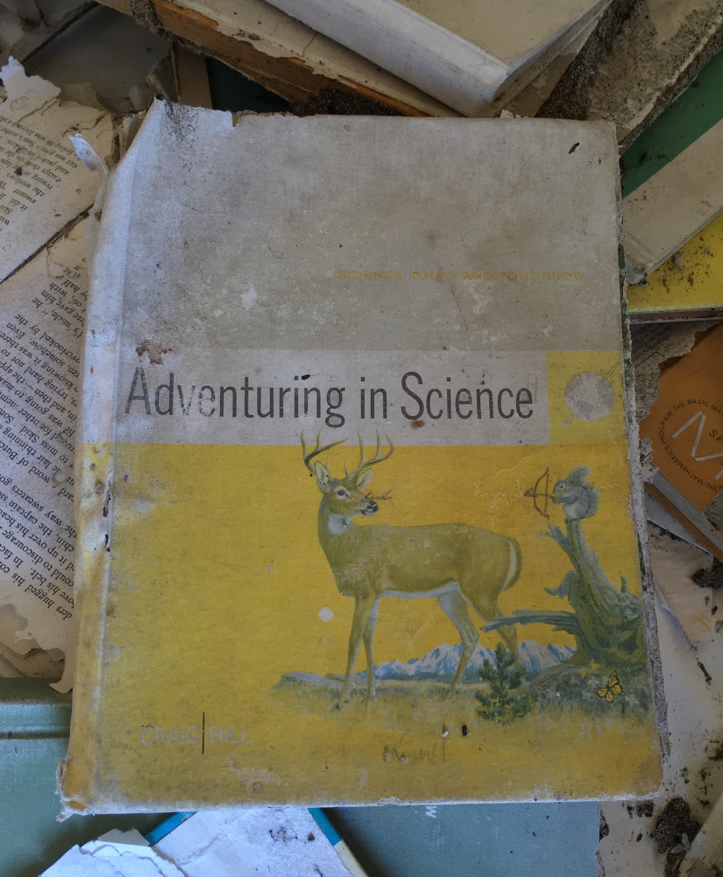 "Tattered book titled ""Adventuring in Science"" with illustration of a squirrel pointing a bow and arrow at a deer"