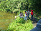 students go up to stream to get a sample