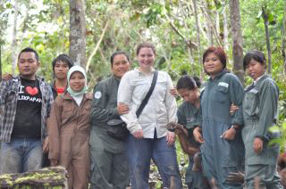 Erin Stromberg and Borneo Orangutan Survival keepers at Forest School