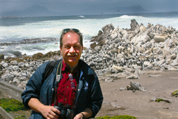 Steve at Stony Point, with cormorants and other seabirds in the background