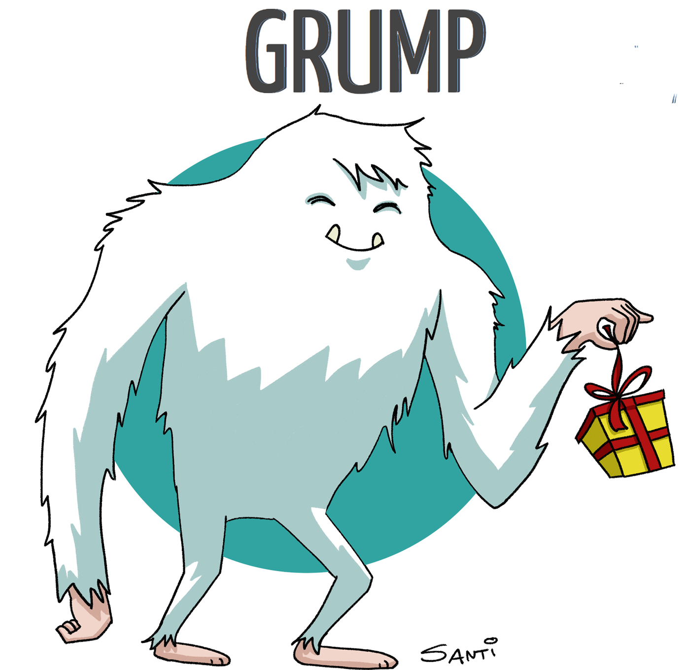 A digital illustration of a yeti holding a gift