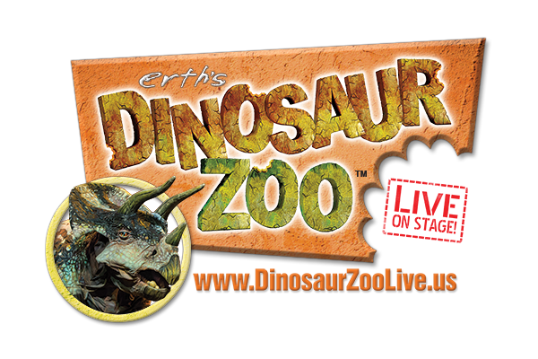 "Erth's Dinosaur Zoo Live logo with text: ""Erth's Dinosaur Zoo Live on Stage! www.DinosaurZooLive.us"""