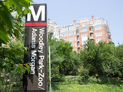Marriott Wardman Park hotel exterior with Metro sign in foreground