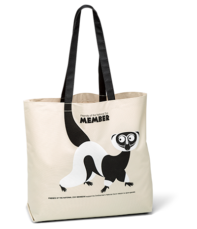 FONZ member tote featuring lemur artwork