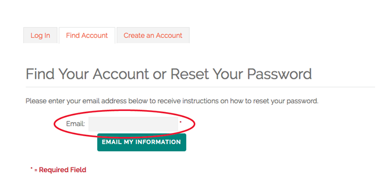 screenshot of member login page instructions highlighting email address field