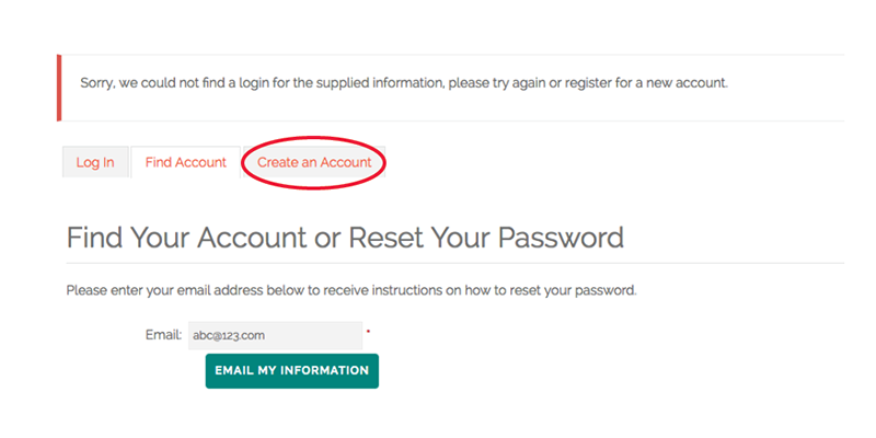 screenshot of member login page instructions highlighting how to create an account