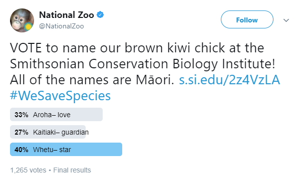 A screenshot of the results of a Twitter poll hosted by Smithsonian's National Zoo, displaying the winning name for a kiwi chick: Whetu