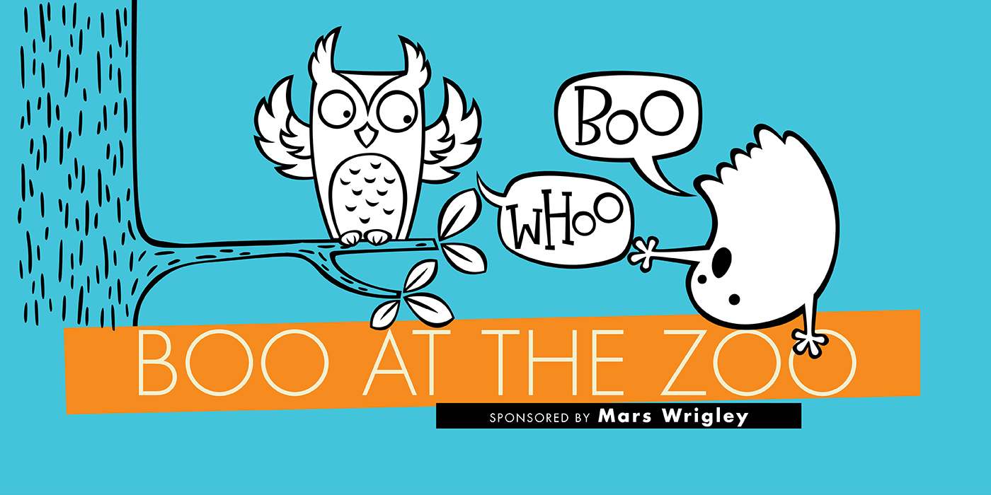 """An illustration of an owl saying, """"Whoo,"""" and a ghost saying, """"Boo"""" with the text """"Boo at the Zoo, sponsored by the Mars Wrigley"""""""