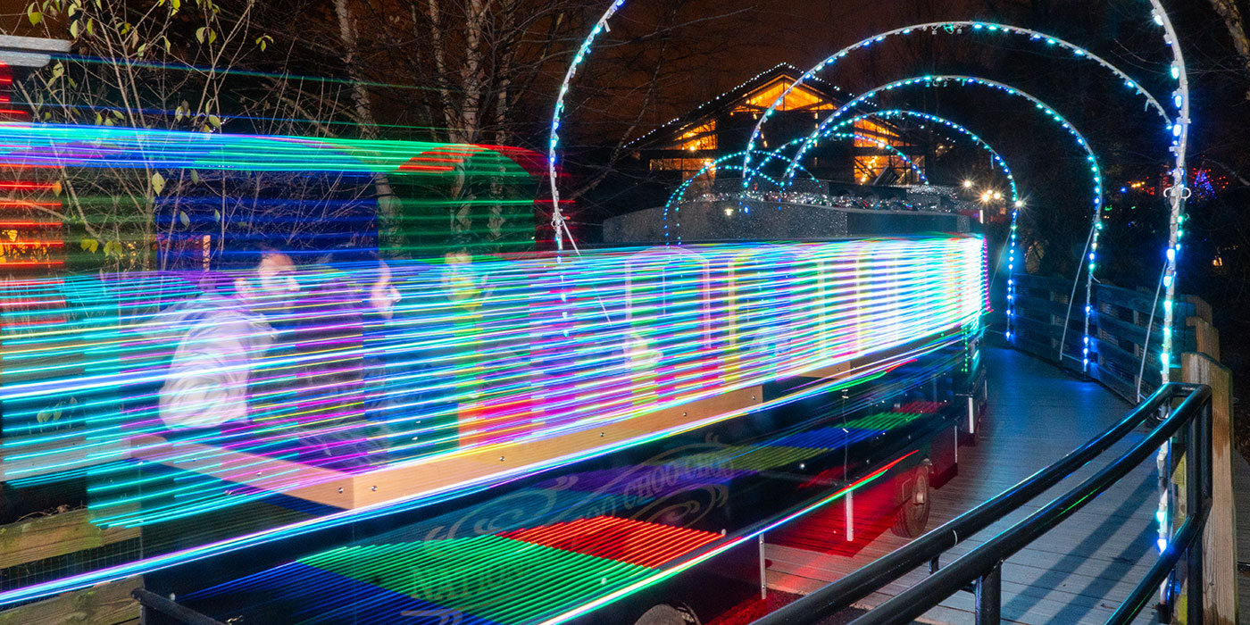 A small choo choo train decorated with colored lights takes passengers around the Kids' Farm at the Zoo