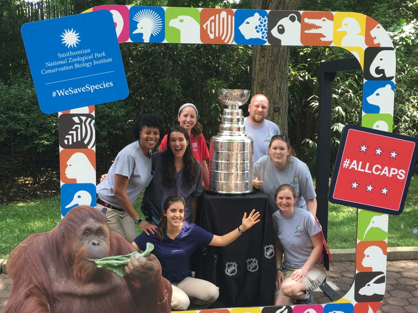A group of Smithsonian's National Zoo veterinarians pose with the Stanley Cup