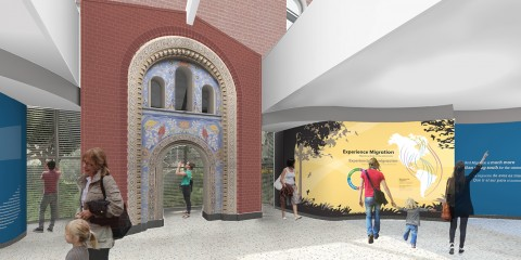 Experience Migration exhibit entrance rendering, featuring a historic masonry arch and exhibit signage
