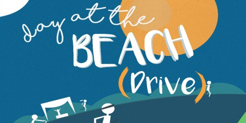 A graphic image of a sun with the words day at the beach (drive)