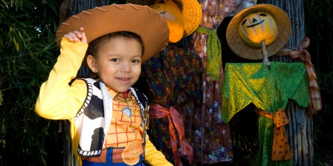 little boy dressed as cowboy