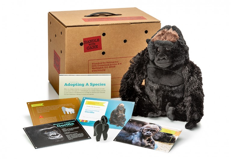 adopt a western lowland gorilla package featuring a plush, carrier box and photo-filled five card set
