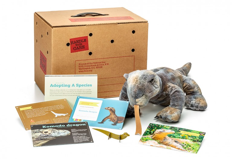 adopt a Komodo dragon package featuring a plush, carrier box and photo-filled five card set