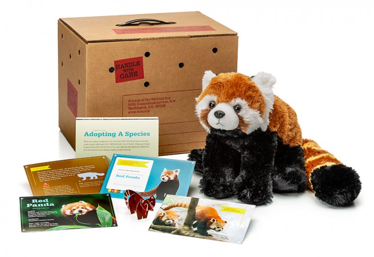 adopt a red panda package featuring a plush, carrier box and photo-filled five card set