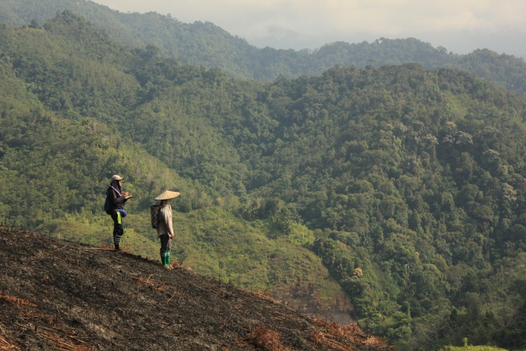 Two people stand on a cliffside in Sarawak, Malaysia, overlooking tree-covered mountains and a field prepped for planting rice