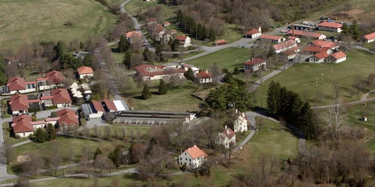 aerial view of SCBI campus