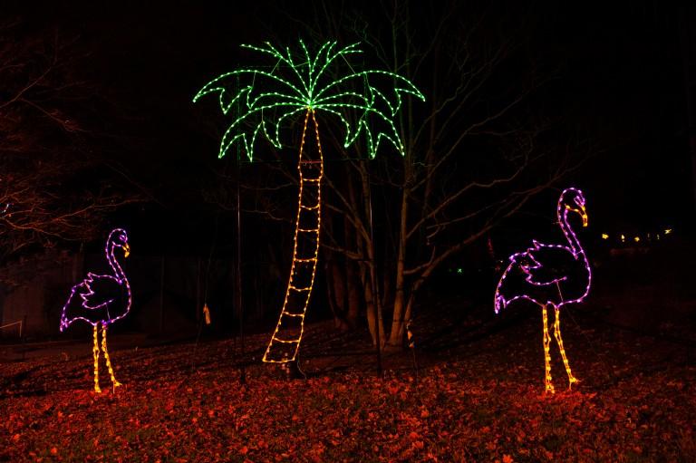 Flamingo and Palm Tree Light Sculpture