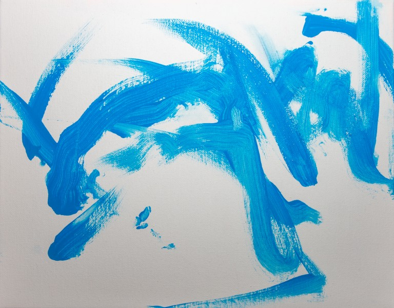 Painting with blue paint created by male giant panda Tian Tian, the cub's father.