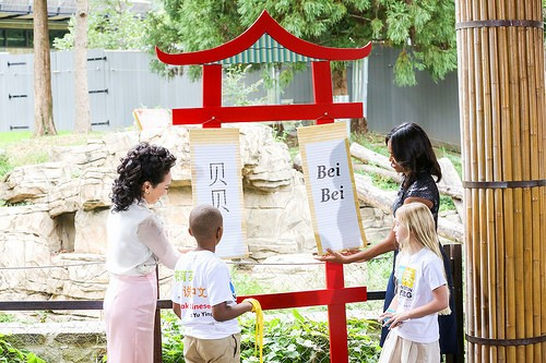 First ladies of China and the US with two small children
