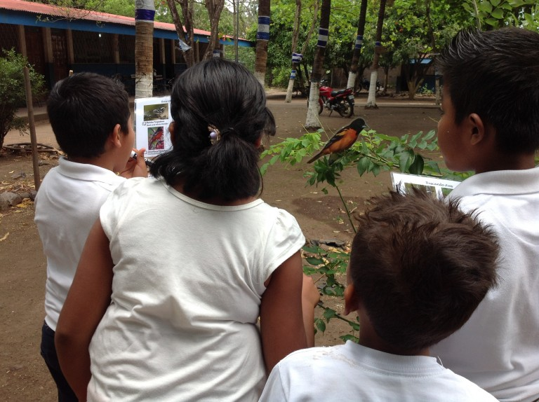 Students participate in a scavenger hunt.