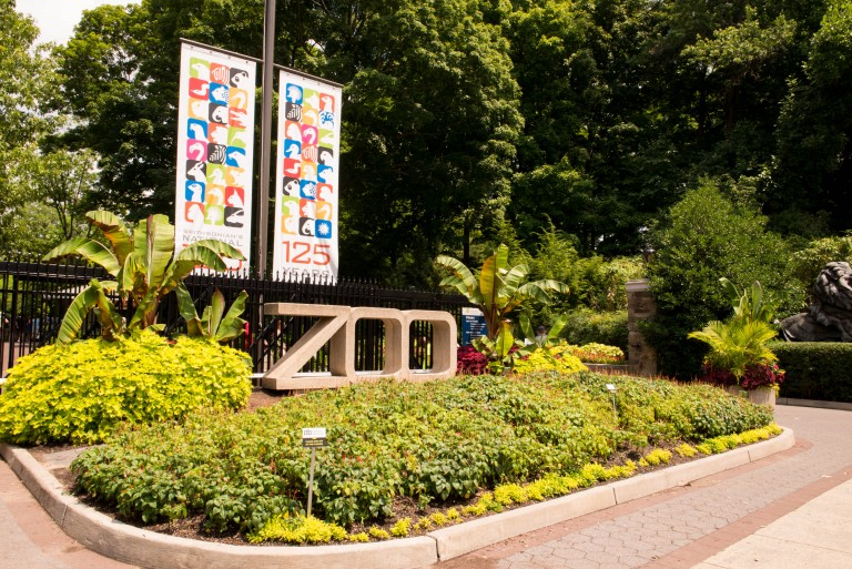 Zoo entrance with icon banners.