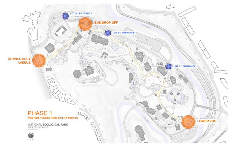 In 2019, the Zoo will reduce the 13 public entrances to three main entrances and three temporary consolidated entrances at existing parking lots.