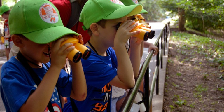 children looking at an exhibit using binoculars