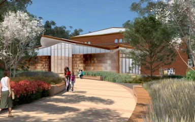 Outdoor rendering of the Experience Migration exhibit entrance