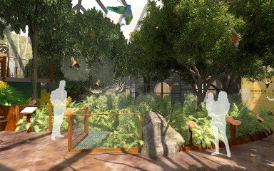 Experience Migration exhibit songbird bird friendly coffee farm aviary rendering, featuring exhibit with trees, rocks and birds