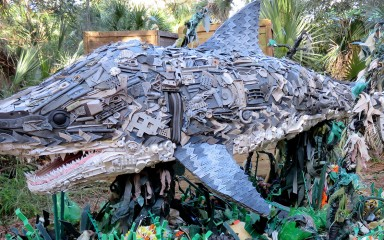 sculpture of a great white shark made from recycled plastic