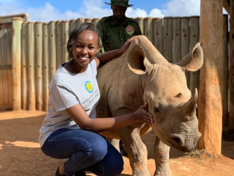 Global Health Program wildlife veterinarian Maureen Wanjiku Kamau with a young rhinocerous