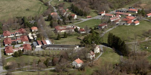 aerial photo of the SCBI campus