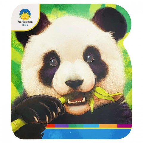 "The cover of the book, ""Panda,"" featuring an illustration of a giant panda eating bamboo and the Smithsonian Kids' logo"