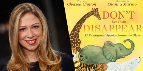A photos of Chelsea Clinton and the cover of her book Don't Let Them Disappear