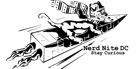 Nerd Nite DC logo: a cat riding a Washington monument rocket ship