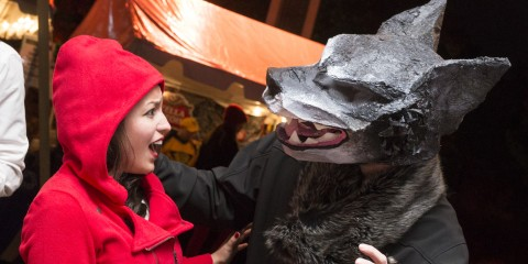 visitors dressed up at night of the living zoo