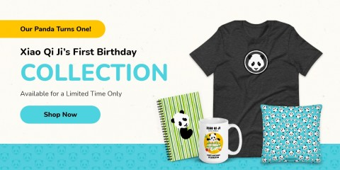 """An ad for panda merchandise with the text """"Our panda turns one! Xiao Qi Ji's first birthday collection. Available for a limited time only. Shop Now"""" and featuring a notebook, mug, shirt and pillow"""