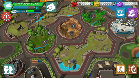 "A still from the mobile game ""Zoo Guardians"" featuring an aerial view of a zoo with exhibits and pathways. Icons in each corner display different actions a player can take, and information about the zoo and animals is displayed in points across the top."