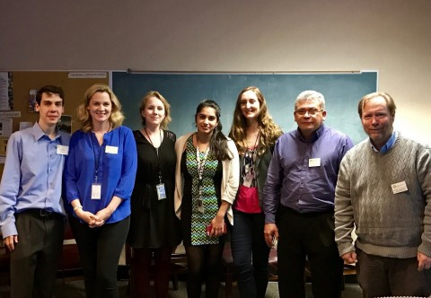 A group of scientists from the Center for Conservation Genomics stand posing for a photo