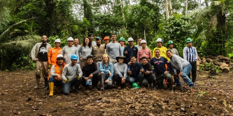 A group of Smithsonian Conservation Biology Institute scientists and partners pose for a photo at their field site in Peru