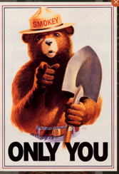 "A 1984 poster features Smokey Bear the character and part of his famous catchphrase, ""Only You Can Prevent Forest Fires."" Following a series of devastating wildfires in 2001, this slogan was changed to ""Only You Can Prevent Wildfires."""